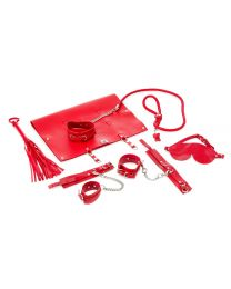 9-piece Real Leather Bondage Set - Red