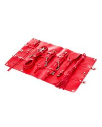 9-piece PU Leather Bondage Set - Red