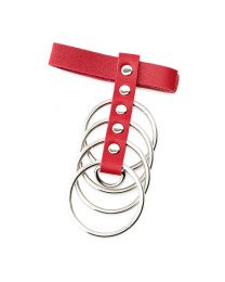 Red PU Leather Cockring with Metal Shaft Support - 45 mm